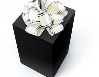 cadeau noir avec ruban blanc