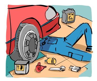 dessin mécanicien sous une voiture