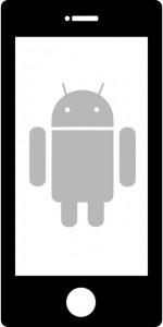 logo d'une smartphone avec en fond de ce téléphone un android