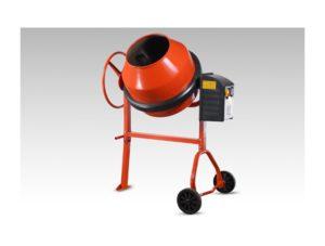 Voici une bétonnière de couleur orange et noir